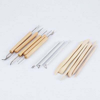 Wood Handle Pottery Clay Sculpey Sculpting Modeling Tools Carving Shapers