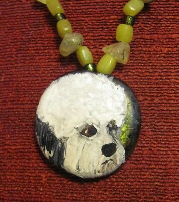 Dandie Dinmont Terrier hand painted on a glass pendant/bead/necklace