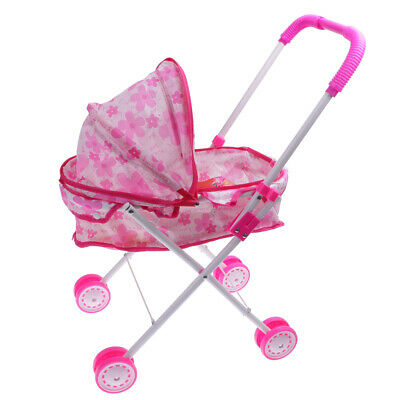 Simulation Pushchair Toy w/ Baby Doll Stroller Accessories Kids Outdoor Play