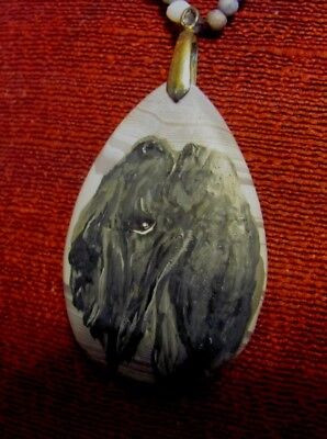 Kerry Blue Terrier hand painted on tear drop Agate pendant/bead/necklace