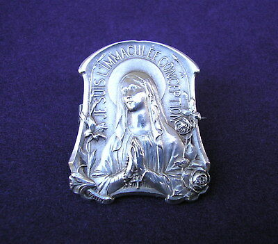 Beautiful antique French Our Lady of Lourdes sterling silver religious Brooch