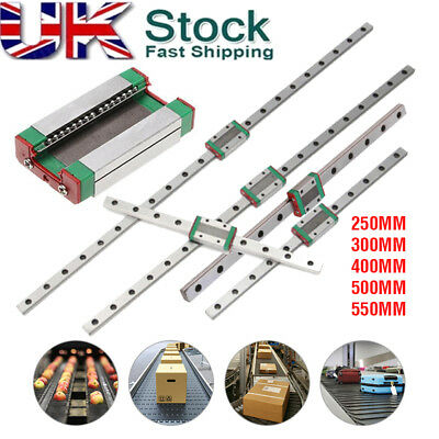 MGN12H Miniature Slider Block Support Linear Guide Rail 250mm-550mm CNC Tool UK