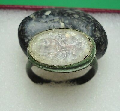 Ancient Roman Bronze Ring Intaglio Original Authentic Antique Rare R105