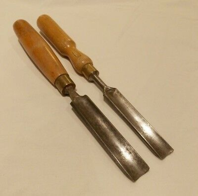 Pair of 2 Rare Vintage Wood Carving Chisels Gouge Fluted.Marples & Sorby.