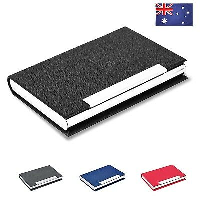 AU Ship Business Card Holder Case PU Leather Stainless Steel with Magnetic Shut