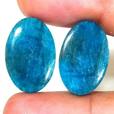 24.60 CTs 100% NATURAL Apatite MATCHING PAIR EXCELLENT OVAL CABOCHON GEMSTONES
