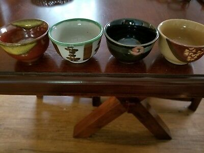 """4 Oriental Stoneware Ceramic Bowls Rice or Soup 3 1/4"""" Round 2.4"""" tall"""