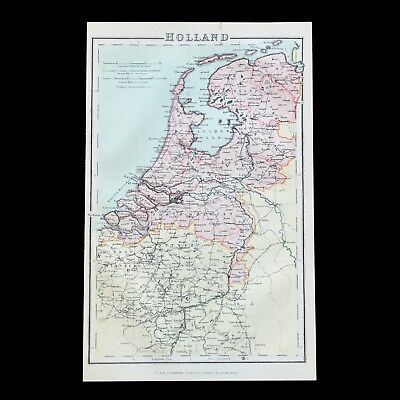 Antique c1900 colour map of HOLLAND / Netherlands - 110+ years old & VGC !