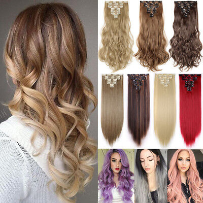 100% Real Hair Clip in Full Head As Remy Human Hair Extensions Extentions 8pcs