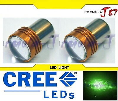 LED Light 5W BA15s G18 Green Two Bulbs Turn Signal Park Drive Side Marker