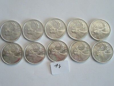Lot of 10 1968 Canada Silver Quarters, 50% silver, UNC #2