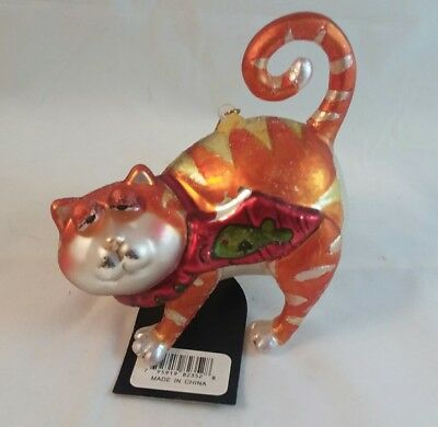 Bethlehem glass orange cat blown glass Christmas ornament with arched back