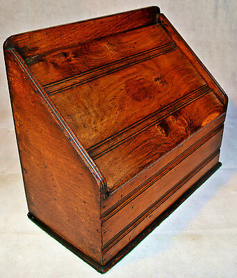 An Edwardian Walnut slope front Stationery Box with Folding Cover