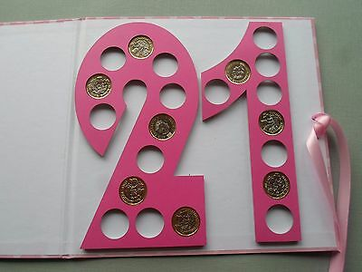 21st BIRTHDAY GIFT FOR HER TO HOLD 21 X NEW GBP1 COINS PINK SPOTTED ON