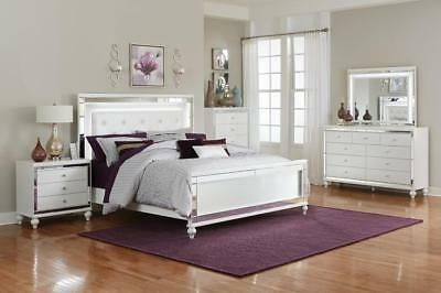 GLITZY 4 PC White Mirrored Led Lights King Bed N/S Dresser ...