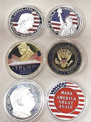 Lot Of Three (3)  NEW Colorized US President Donald Trump Coins Great Gift MAGA