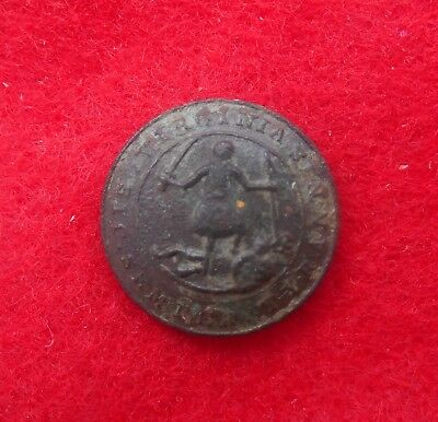 Rare Dug 16mm Early One Piece Virginia Button