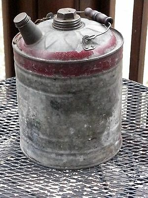 Vintage J & L Ware Galvanized Gas & Oil Can Wood Handle Screw Caps Clean Complet