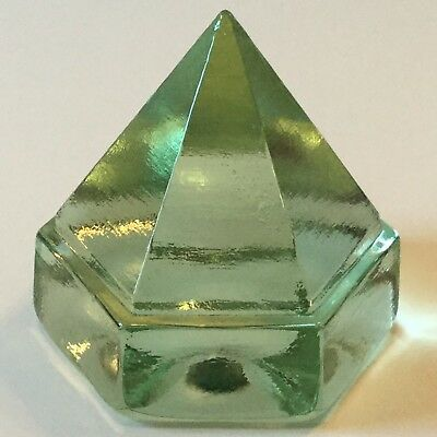 Vintage 80s Boat Ship Deck Prism Green Glass Paperweight Mystic Newport Replica