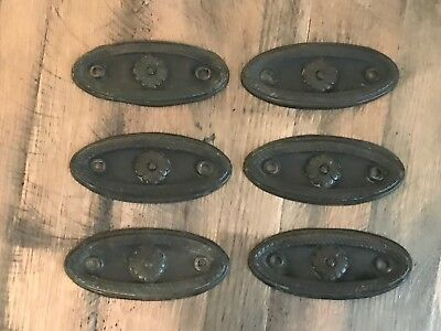 Set of 6 Matching Victorian Antique Pressed Brass Drawer Pull Back Plates