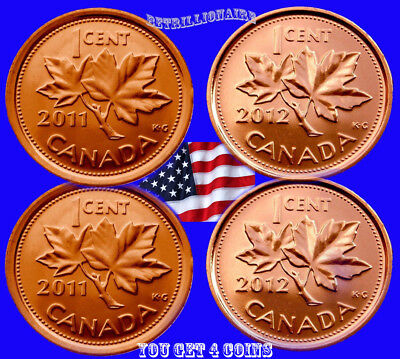 2011 & 2012 Canada, 4X 1 Cent Canadin Penny, Magnetic Unc.one Cent.us Seller.