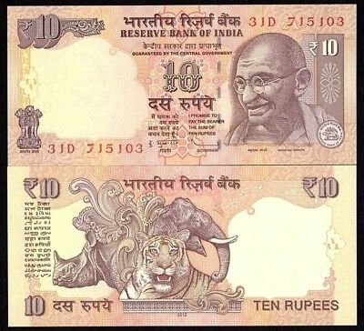 India 10 Rupees 2012 Unc Banknote World Paper Money (P-102)