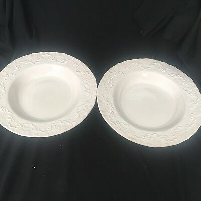 "Ralph Lauren Wedgwood England 9 1/4""  White  Claire Soup Bowls - Set of 2 (s)"