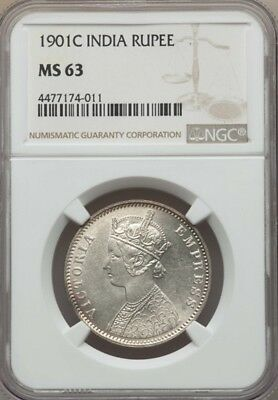 India British  Victoria  1901-(C) 1 Rupee Silver Coin, Certified Ngc Ms63