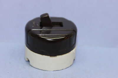 Vintage EAGLE Brown Bakelite/White Porcelain 3-Way Round Toggle Switch - NEW!