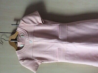 Vintage 1960's Courreges shell pink wool shift dress size 8