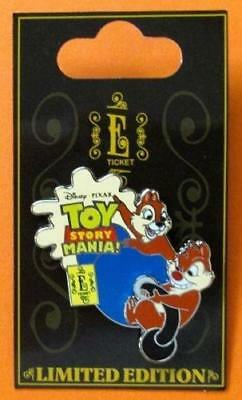 Disney Pin WDW E Ticket Attractions Chip & Dale Toy Story Midway Mania 3D LE NOC