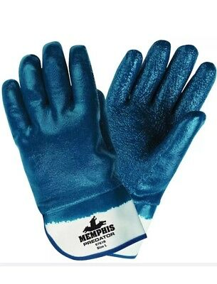 12 Pairs MCR Safety 9761R Memphis Predator Coated Nitrile Gloves, Blue Large