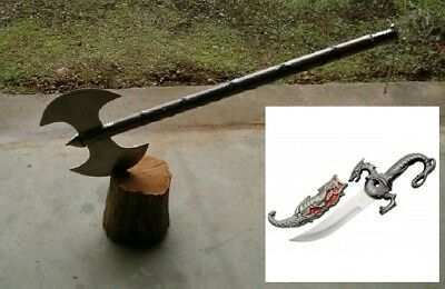 "30"" Medieval Double Edge Executioners Axe, Battle Axe,viking + 10"" Dragon Dagger"
