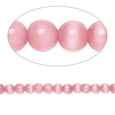 1 Strand Dark Pink Cat's Eye Fiber Optic Glass 4mm Round Grade A Beads