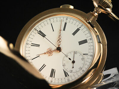 Grosse Minutenrepetition Schlaguhr 14K Gold Dopellmantel Chronograph Poketwatch