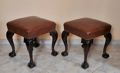 Pair of antique tabourette, Chippendale style, F.O. Schmidt