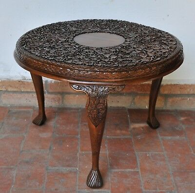 Antique chinese carved tea table, 19th century