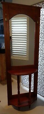 Hat, Coat, Hall stand. Timber mirrored with shelf.