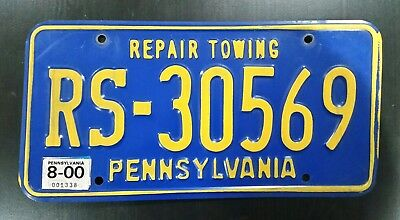 2000 Pennsylvania Repair Towing License Plate Tow Truck Wrecker