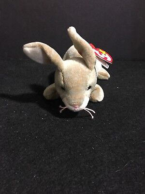 "Ty Beanie Baby ""nibbly"" The Rabbit Plush Toy Retired 1998"
