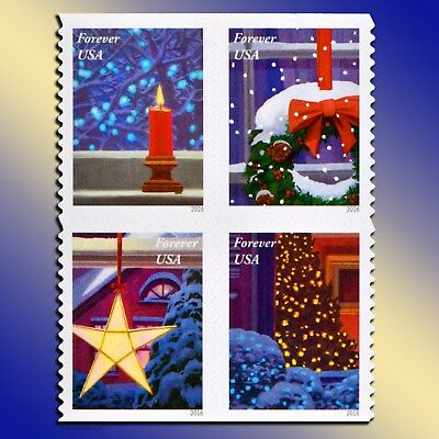 20 Christmas Forever Postage Stamps Book USPS Holiday Windows Wreath Tree Lights