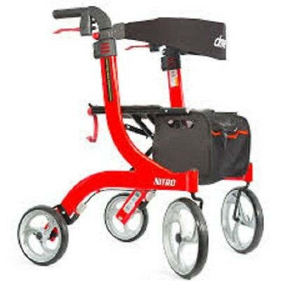 New Drive Medical Nitro Euro Style Rollator Rolling Walker, Tall, Red