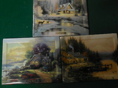 3 Thomas Kinkade Seasons Of Reflection Porcelain Plate Wall Hangings Bradford