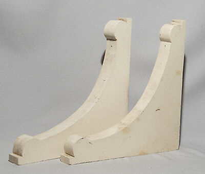 Architectural Wood Corbels, Pair, Vintage Antique Shelf Brackets