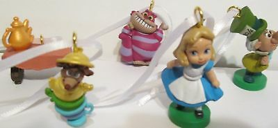Disney Alice In Wonderland Mad Hatter Cheshire Mouse Cat 5pc Artesian Ornaments