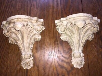 Set of TWO Vintage Ornate WALL SHELVES (Light Gray with Gold accents)!