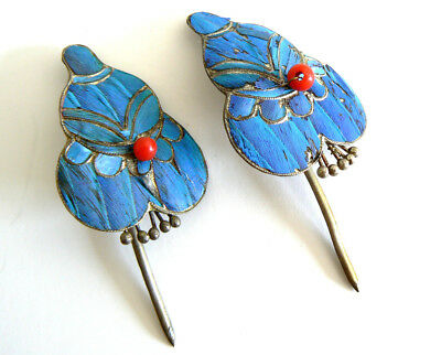 A Set Qing Dynasty Kingfisher Feather Hair Pin Antique VINTAGE Tian-tsui 點翠