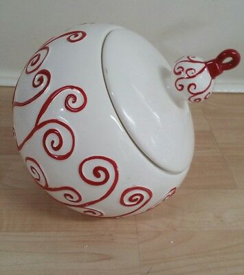 Real Home Christmas cookie jar red and white large  ornament