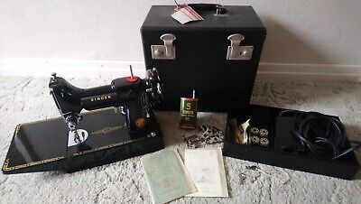 Vintage Singer Sewing Machine Portable Model 221k in Case with Accessories