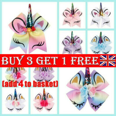 Child Sequined Unicorn Bow Hair Clip Girl Hairs Accessories Xmas Gifts For Kids